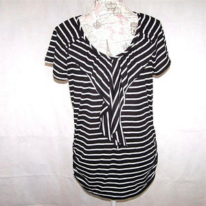 French Laundry Top Shirt M Ruffled V-Neck Striped